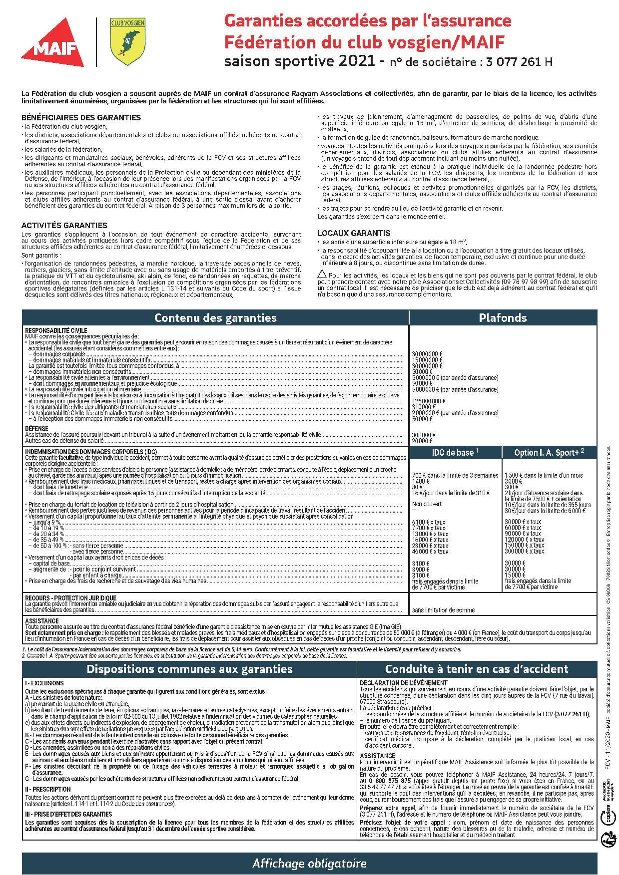 Assurance fédérale - Garantie
