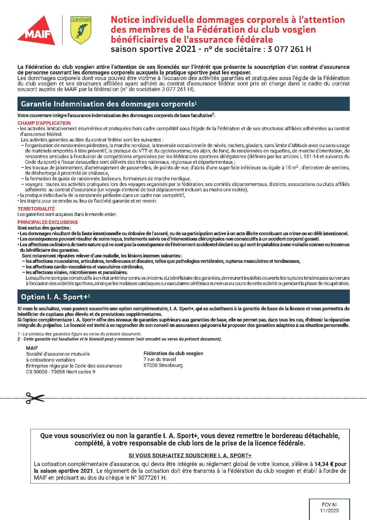 Assurance fédérale - Notice et Sport +